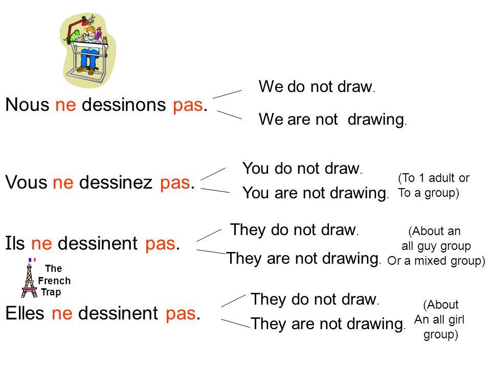 Nous ne dessinons pas. Vous ne dessinez pas. I ls ne dessinent pas.