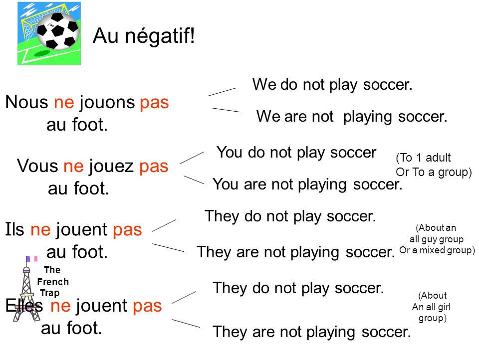 Nous ne jouons pas au foot. Vous ne jouez pas au foot.