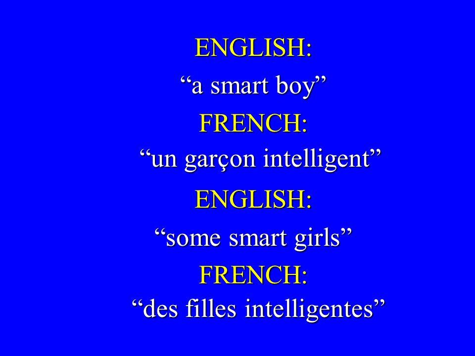 ENGLISH: ENGLISH: a smart boy a smart boy FRENCH: FRENCH: ENGLISH: ENGLISH: some smart girls some smart girls FRENCH: FRENCH: un garçon intelligent des filles intelligentes