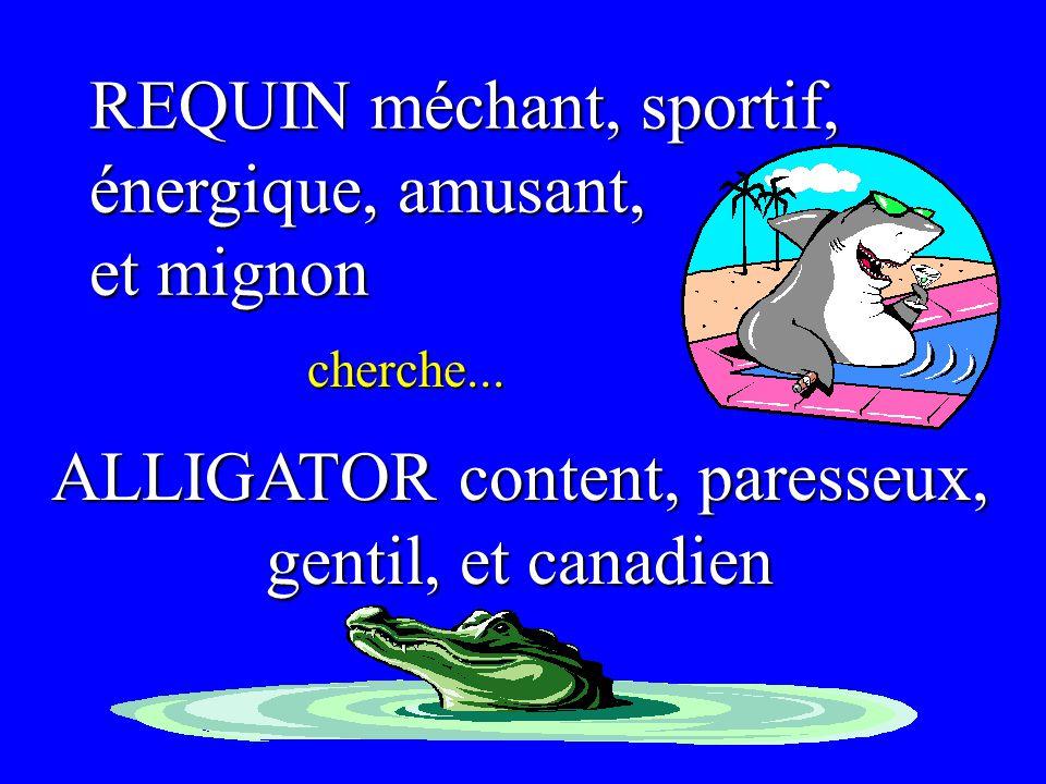 REQUIN méchant, sportif, énergique, amusant, et mignon cherche... ALLIGATOR content, paresseux, gentil, et canadien