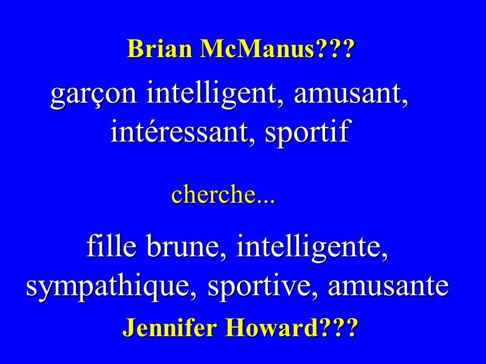 garçon intelligent, amusant, intéressant, sportif cherche... fille brune, intelligente, sympathique, sportive, amusante Brian McManus??? Jennifer Howa