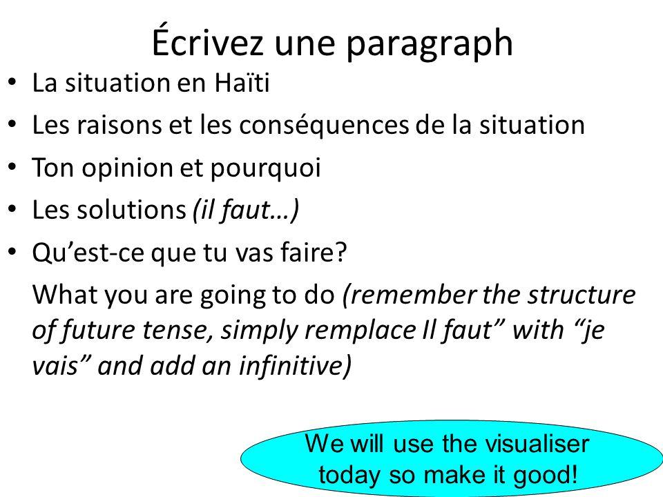 Écrivez une paragraph La situation en Haïti Les raisons et les conséquences de la situation Ton opinion et pourquoi Les solutions (il faut…) Quest-ce
