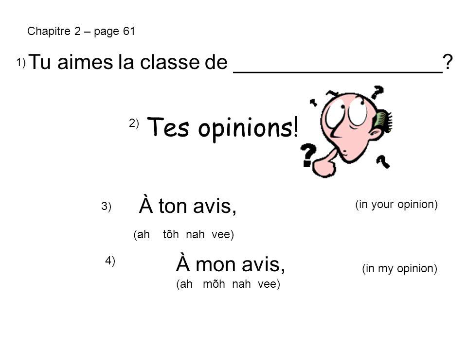 Les questions: 6) Comment tu trouves ça.7) Comment tu trouves (le cours de français).