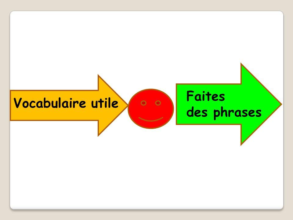 Vocabulaire utile Faites des phrases