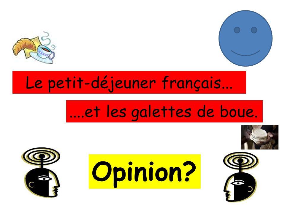 Le petit-déjeuner français.......et les galettes de boue. Opinion