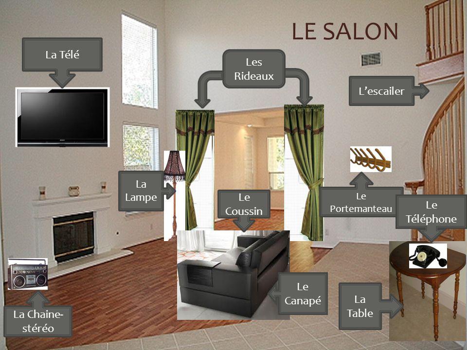 Lescailer LE SALON Les Rideaux Le Canapé Le Coussin La Télé La Lampe La Chaine- stéréo Le Portemanteau La Table Le Téléphone