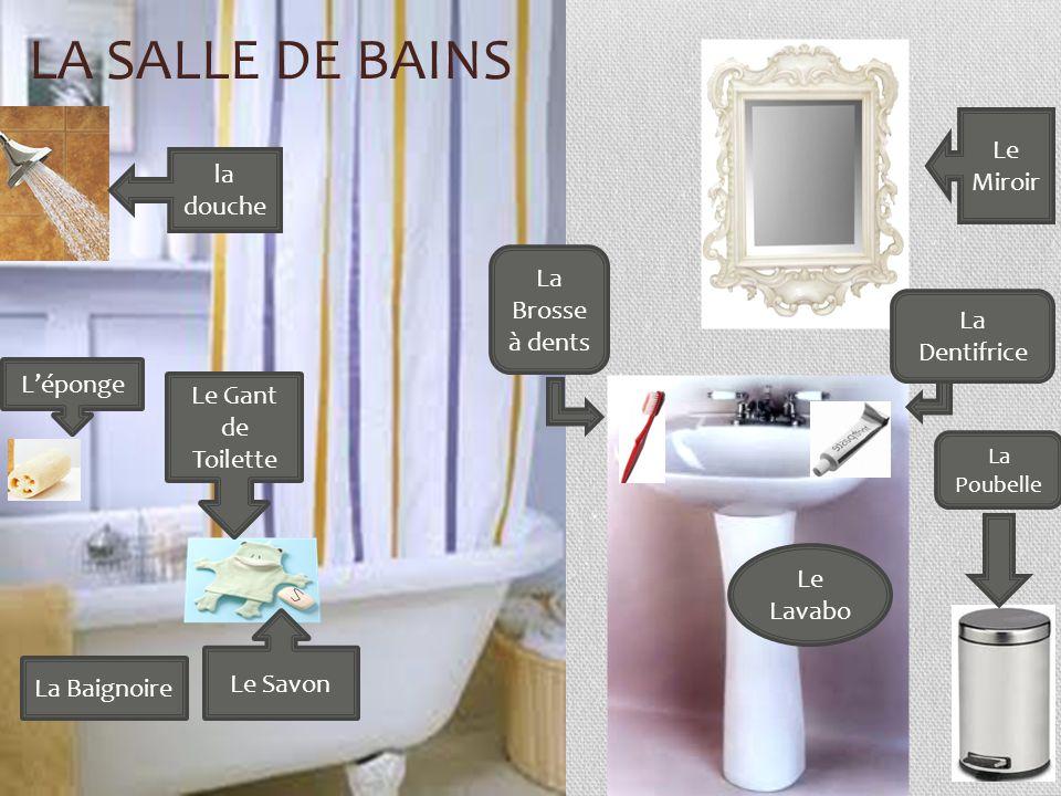 LA SALLE DE BAINS Le Lavabo Le Savon La Baignoire Le Gant de Toilette la douche Le Miroir La Poubelle Léponge La Brosse à dents La Dentifrice