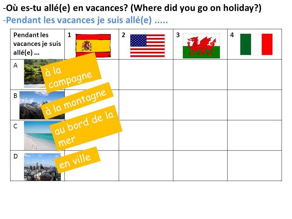 1234 A B C D -Où es-tu allé(e) en vacances.