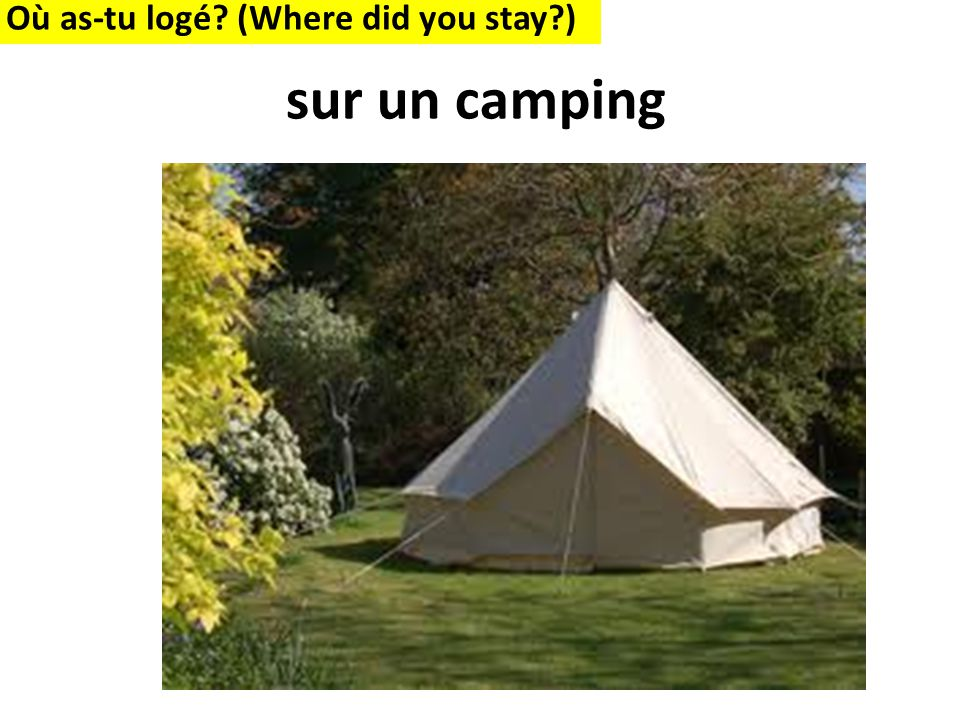 Où as-tu logé (Where did you stay ) sur un camping