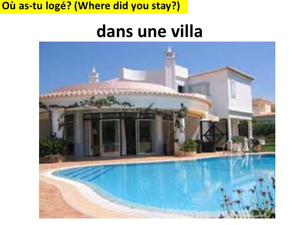 Où as-tu logé? (Where did you stay?) dans une villa