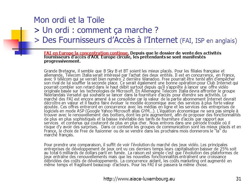 http://www.aiace-luxembourg.eu31 Mon ordi et la Toile > Un ordi : comment ça marche .