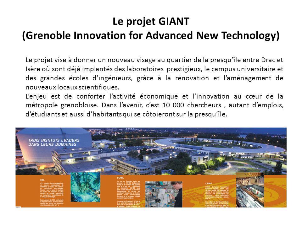 Le projet GIANT (Grenoble Innovation for Advanced New Technology) Le projet vise à donner un nouveau visage au quartier de la presquîle entre Drac et Isère où sont déjà implantés des laboratoires prestigieux, le campus universitaire et des grandes écoles dingénieurs, grâce à la rénovation et laménagement de nouveaux locaux scientifiques.