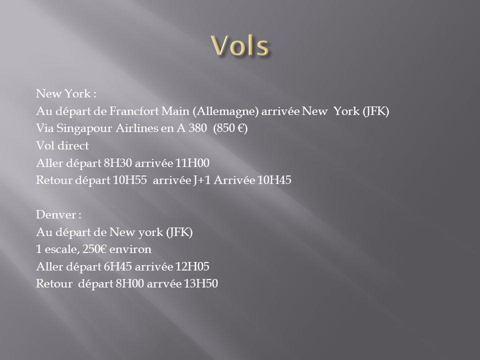 New York : Au départ de Francfort Main (Allemagne) arrivée New York (JFK) Via Singapour Airlines en A 380 (850 ) Vol direct Aller départ 8H30 arrivée