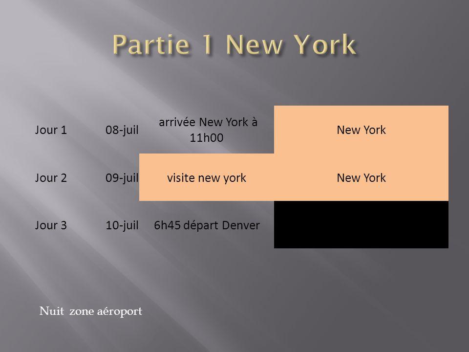 Jour 108-juil arrivée New York à 11h00 New York Jour 209-juilvisite new yorkNew York Jour 310-juil6h45 départ Denver Nuit zone aéroport