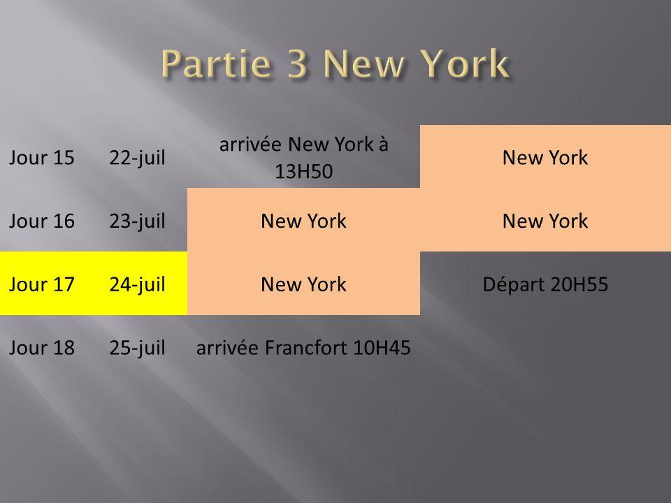 Jour 1522-juil arrivée New York à 13H50 New York Jour 1623-juilNew York Jour 1724-juilNew YorkDépart 20H55 Jour 1825-juilarrivée Francfort 10H45