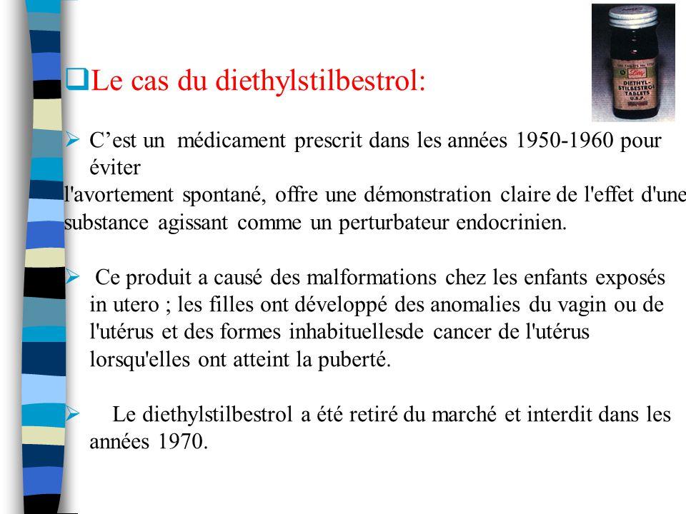 Le cas du diethylstilbestrol: Cest un médicament prescrit dans les années 1950-1960 pour éviter l'avortement spontané, offre une démonstration claire