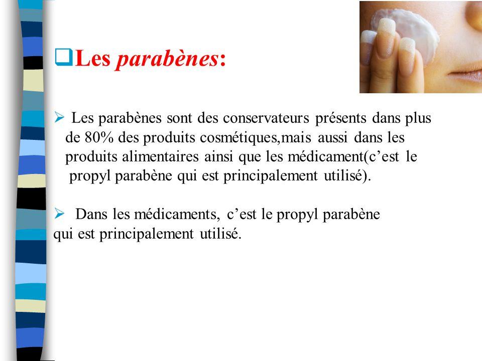 Les parabènes sont des conservateurs présents dans plus de 80% des produits cosmétiques,mais aussi dans les produits alimentaires ainsi que les médica