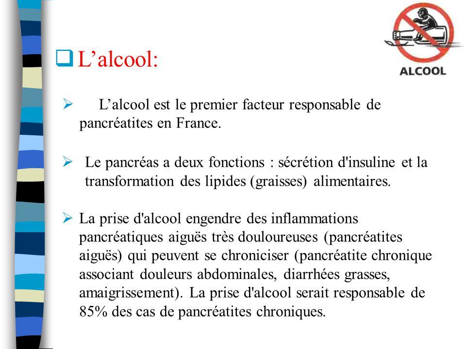 Le pancréas a deux fonctions : sécrétion d'insuline et la transformation des lipides (graisses) alimentaires. La prise d'alcool engendre des inflammat
