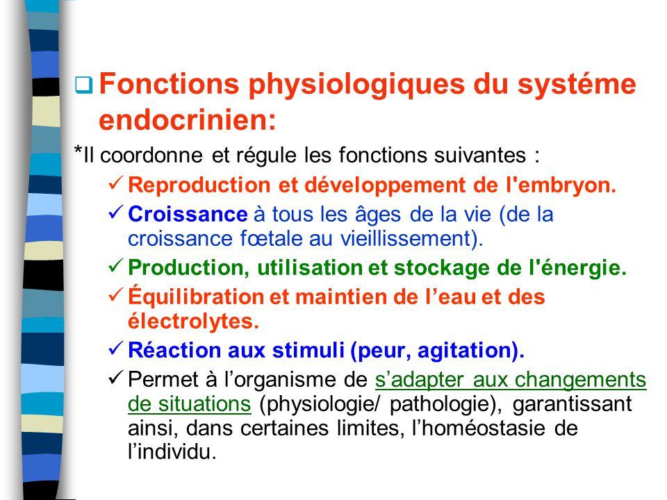Fonctions physiologiques du systéme endocrinien: * Il coordonne et régule les fonctions suivantes : Reproduction et développement de l'embryon. Croiss