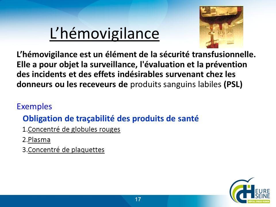 17 Lhémovigilance Lhémovigilance est un élément de la sécurité transfusionnelle.
