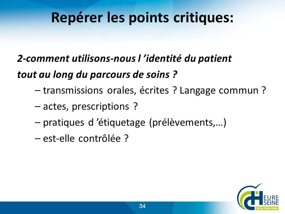 34 Repérer les points critiques: 2-comment utilisons-nous l identité du patient tout au long du parcours de soins .