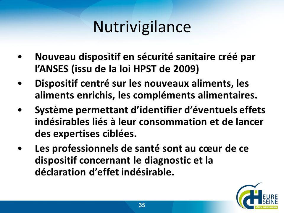 35 Nutrivigilance Nouveau dispositif en sécurité sanitaire créé par lANSES (issu de la loi HPST de 2009) Dispositif centré sur les nouveaux aliments, les aliments enrichis, les compléments alimentaires.