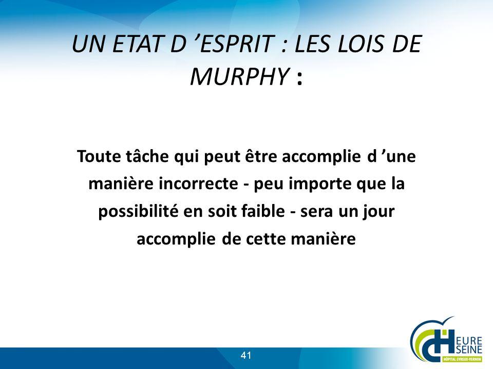 41 UN ETAT D ESPRIT : LES LOIS DE MURPHY : Toute tâche qui peut être accomplie d une manière incorrecte - peu importe que la possibilité en soit faible - sera un jour accomplie de cette manière