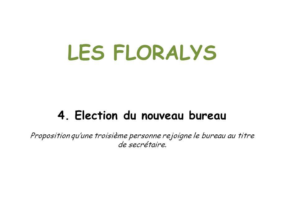 LES FLORALYS 4. Election du nouveau bureau Proposition quune troisième personne rejoigne le bureau au titre de secrétaire.