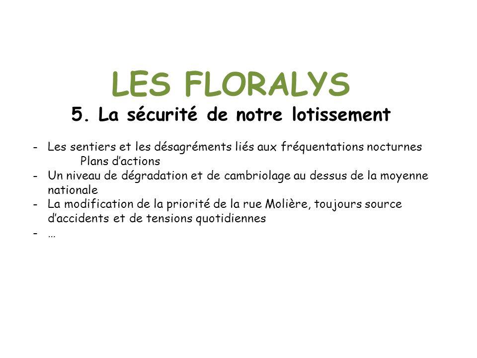 LES FLORALYS 5. La sécurité de notre lotissement -Les sentiers et les désagréments liés aux fréquentations nocturnes Plans dactions -Un niveau de dégr