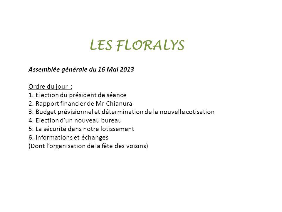 1.Election du président de séance La coutume des Floralys propose à un nouveau voisin de présider lassemblée générale …
