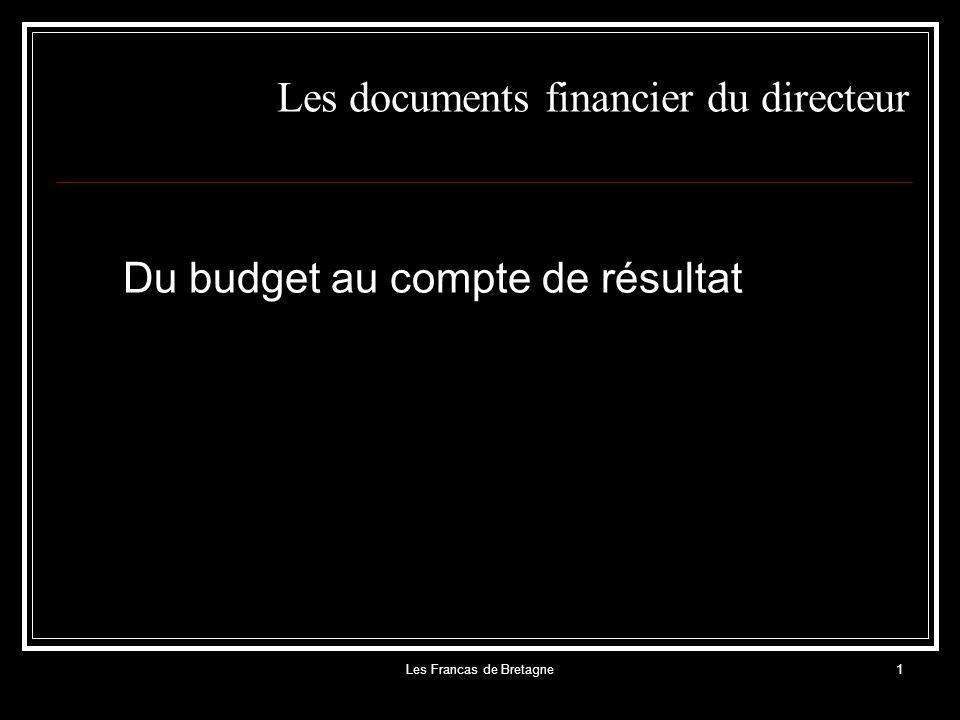 Les Francas de Bretagne1 Les documents financier du directeur Du budget au compte de résultat