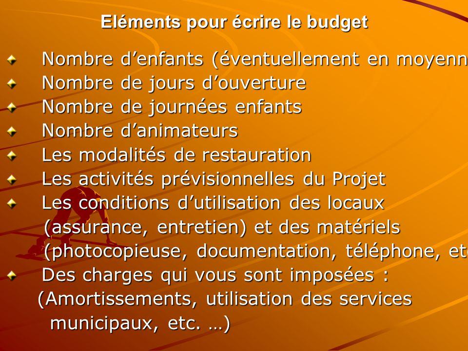 Eléments pour écrire le budget Nombre denfants (éventuellement en moyenne) Nombre denfants (éventuellement en moyenne) Nombre de jours douverture Nomb