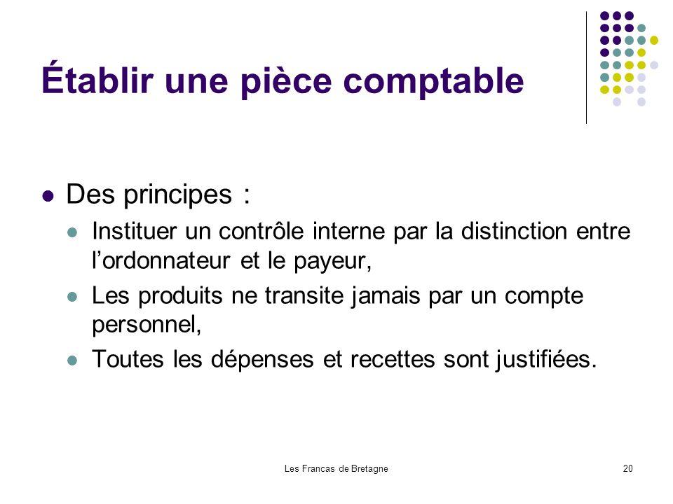 Les Francas de Bretagne20 Établir une pièce comptable Des principes : Instituer un contrôle interne par la distinction entre lordonnateur et le payeur