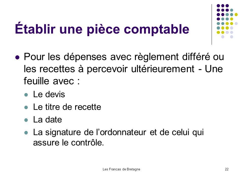 Les Francas de Bretagne22 Établir une pièce comptable Pour les dépenses avec règlement différé ou les recettes à percevoir ultérieurement - Une feuill
