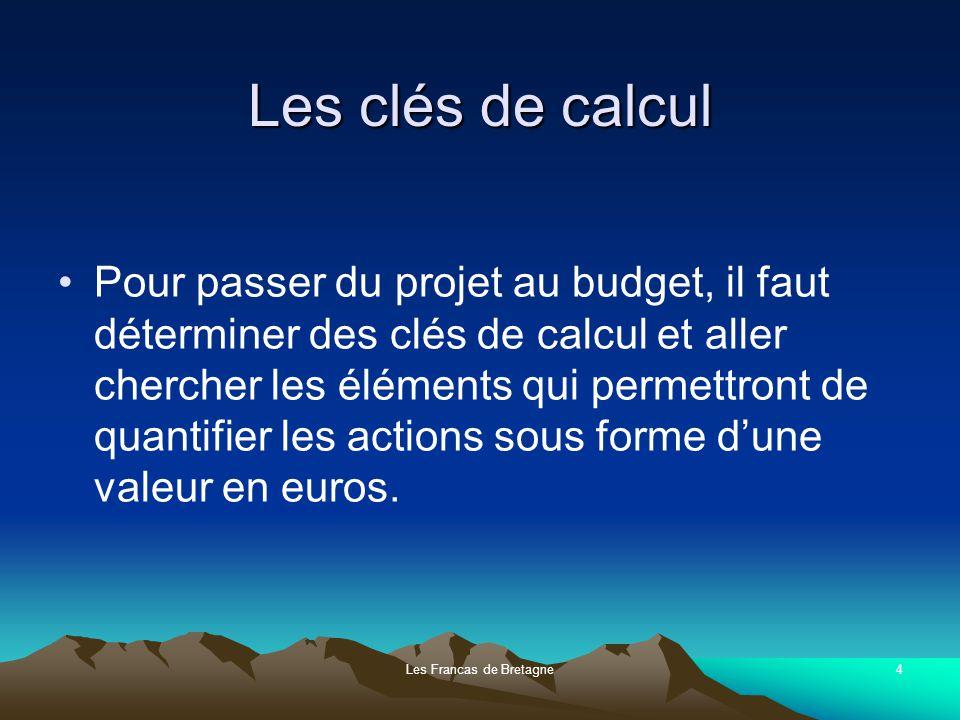 Les Francas de Bretagne4 Les clés de calcul Pour passer du projet au budget, il faut déterminer des clés de calcul et aller chercher les éléments qui