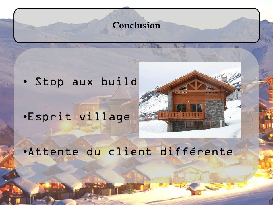 Conclusion Stop aux buildings Esprit village Attente du client différente