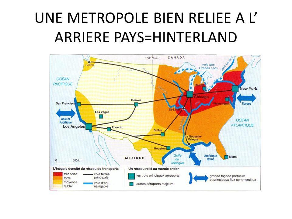UNE METROPOLE BIEN RELIEE A L ARRIERE PAYS=HINTERLAND