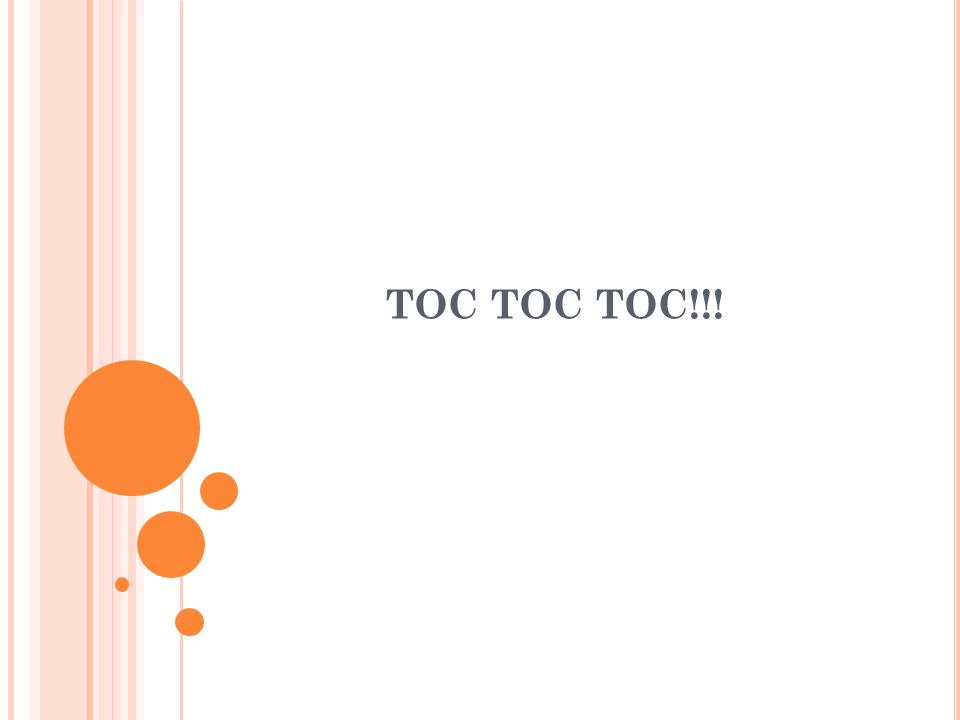 TOC TOC TOC!!!
