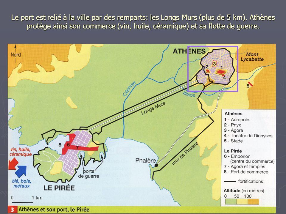 Le port est relié à la ville par des remparts: les Longs Murs (plus de 5 km). Athènes protège ainsi son commerce (vin, huile, céramique) et sa flotte
