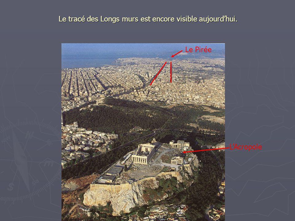 Le tracé des Longs murs est encore visible aujourdhui. Le Pirée LAcropole