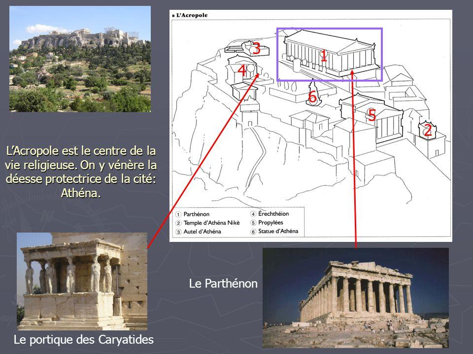 LAcropole est le centre de la vie religieuse. On y vénère la déesse protectrice de la cité: Athéna. 1 2 3 4 5 6 Le portique des Caryatides Le Parthéno