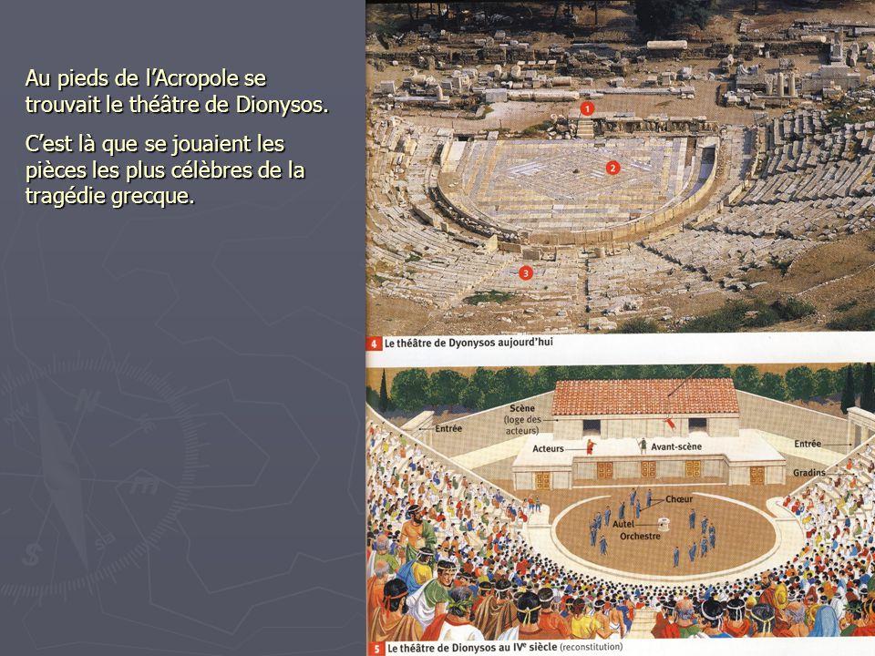 Au pieds de lAcropole se trouvait le théâtre de Dionysos. Cest là que se jouaient les pièces les plus célèbres de la tragédie grecque.