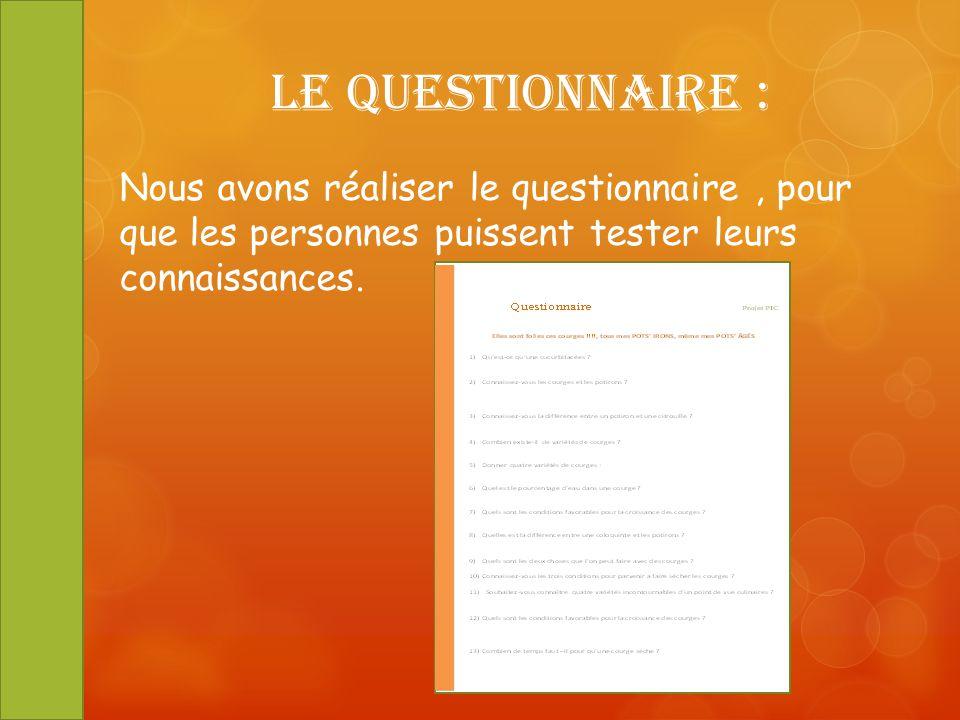 Le Questionnaire : Nous avons réaliser le questionnaire, pour que les personnes puissent tester leurs connaissances.