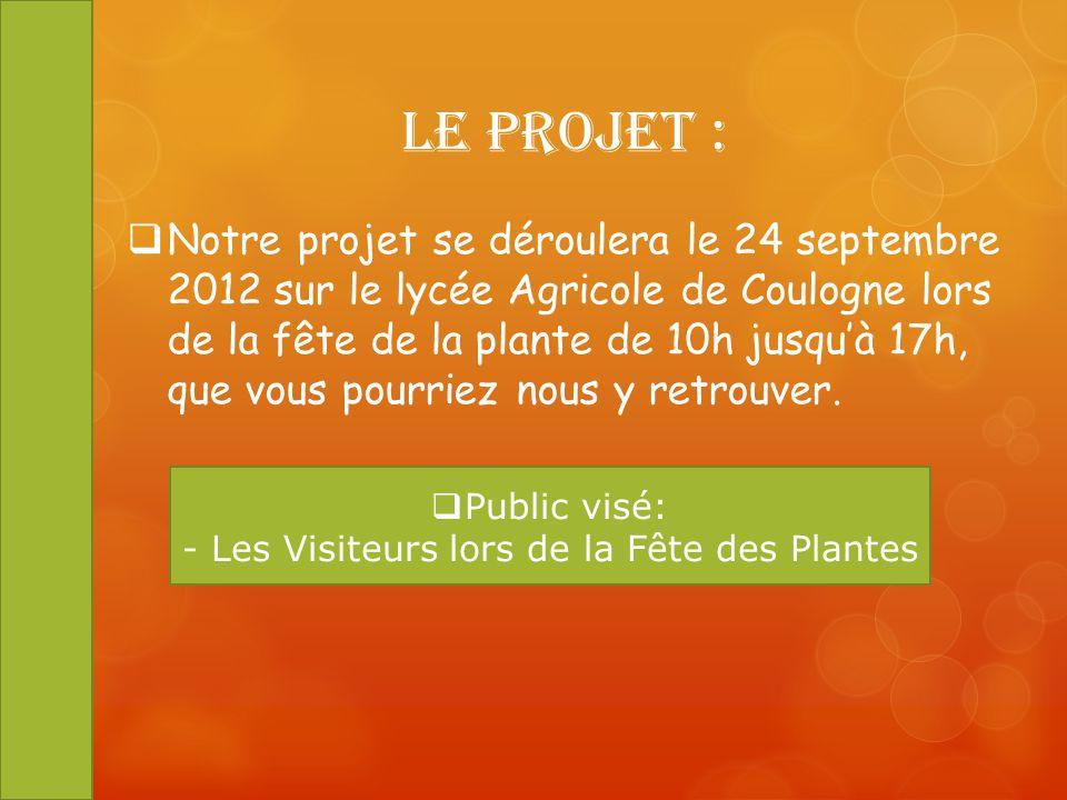 Le projet : Notre projet se déroulera le 24 septembre 2012 sur le lycée Agricole de Coulogne lors de la fête de la plante de 10h jusquà 17h, que vous