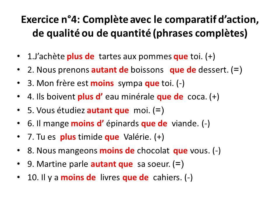 Exercice n°4: Complète avec le comparatif daction, de qualité ou de quantité (phrases complètes) 1.Jachète plus de tartes aux pommes que toi. (+) 2. N