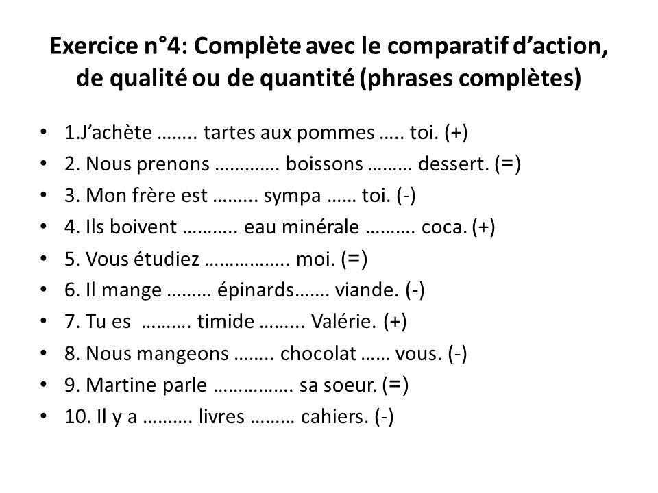 Exercice n°4: Complète avec le comparatif daction, de qualité ou de quantité (phrases complètes) 1.Jachète …….. tartes aux pommes ….. toi. (+) 2. Nous