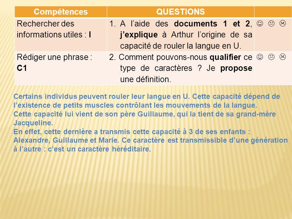 CompétencesQUESTIONS Rechercher des informations utiles : I 1.A laide des documents 1 et 2, jexplique à Arthur lorigine de sa capacité de rouler la la