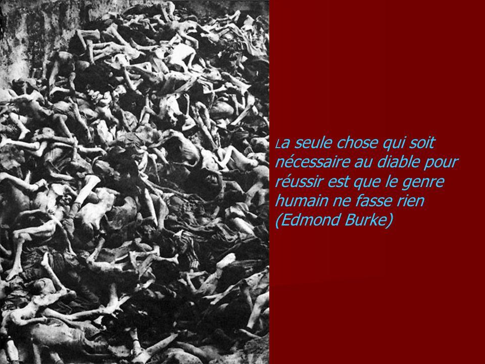 L a seule chose qui soit nécessaire au diable pour réussir est que le genre humain ne fasse rien (Edmond Burke)