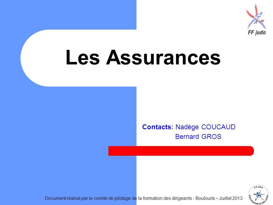 Contacts: Nadège COUCAUD Bernard GROS Les Assurances Document réalisé par le comité de pilotage de la formation des dirigeants - Boulouris – Juillet 2