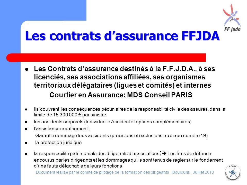 Les contrats dassurance FFJDA Les Contrats dassurance destinés à la F.F.J.D.A., à ses licenciés, ses associations affiliées, ses organismes territoria